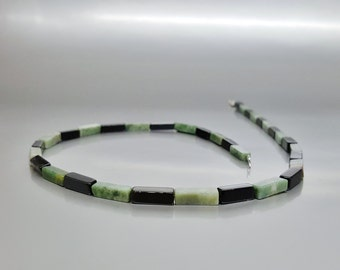 Men's necklace with Onyx and Moss Agate with Sterling silver - gemstone modern jewelry - gift idea