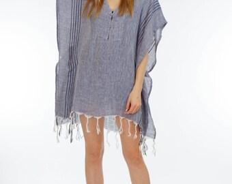 Indigo Linen Tunic| Bohemian Clothing Boho Dress Beach Cover Up Beach Robe Vintage Beach Dress White Linen Tunic Bohemian