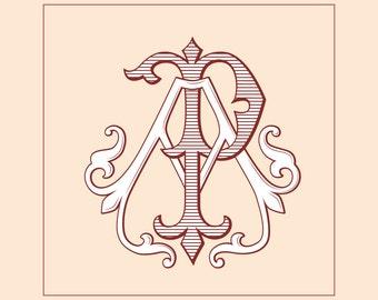 Vintage Monogram AP, PA | Wedding logo | Wedding Clip Art