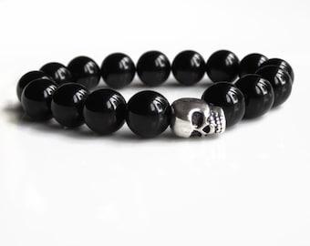 Black Onyx skull bracelet, mens silver skull bracelet, mens jewellery gift idea, skull jewellery, mens gift idea, mens skull accessories