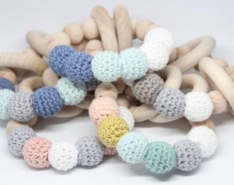 New organic baby teething toy - bracelet / Natural baby Teether / Organic baby cotton