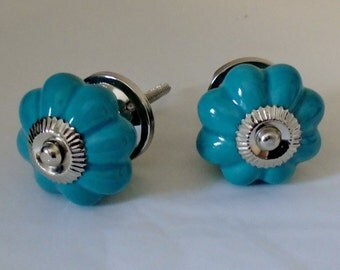 Decorative Ceramic Knob, Blue Melon Knob with Silver Accent, Drawer Knob