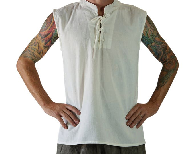 Featured listing image: ROGUE SHIRT CREAM - Renaissance Shirt Festival Clothing Pirate Shirt Costume Medieval Shirt Viking Shirt Tunic Vest Steampunk Shirt