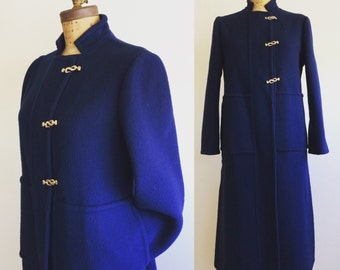1960's Pauline Trigere vintage wool coat cobalt blue with gold clasps for Martha store