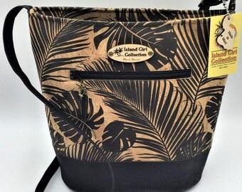 Large Handbag, Shoulder Bag, Bucket Bag, Purse in Black Cork Leather in Tropical Leaf Print - Made in Maui