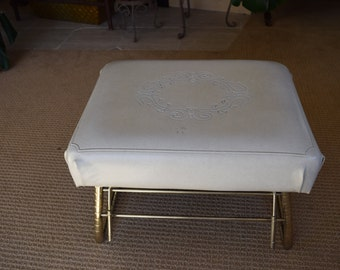 Pearl Wick Leg Lounger Cream Colored Foot Stool Adjustable Ottoman Mid-Century Decor
