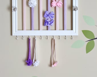 NEW! - Headband & hair clip holder - Pink and lavender