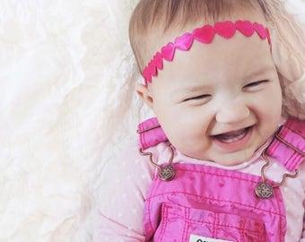 Hot Pink Headband, Baby Headband, Heart Headband, Toddler Headband,  Baby Girl Headband, Baby Heart Headband, Heart Halo, Baby Girl, Newborn
