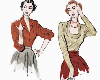 Vintage 1950s Tuxedo Blouse Pattern Horseshoe Neck Blouse Sewing Pattern Butterick 5461 Bust 34 UNCUT