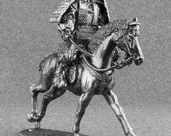 Medieval Action Figurine 1/32 Scale Japanese Samurai Horse Rider Toy Soldiers 54mm Tin Metal Miniature