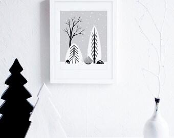Black and White Christmas Wall Art Download, Scandinavian Nursery Decor, Monochrome Winter Landscape Art Printable, Nordic Art, Minimalist