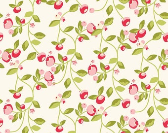 Hello Gorgeous Riley Blake C5691 Vine Cream, Pink & Red Floral Quilt Fabric, My Minds Eye, Cotton