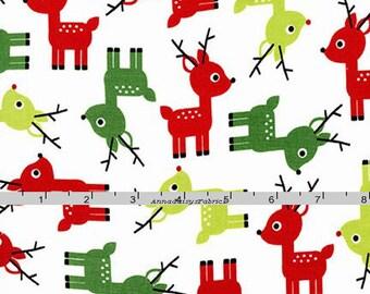 Reindeer Fabric, Jingle 3, AAK 15268 1 White, Robert Kaufman, Ann Kelle, Christmas Red, Green, White, Lime, Reindeer Quilt Fabric, Cotton