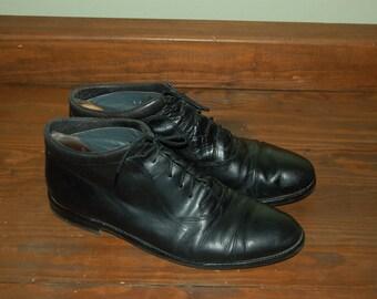 Men Size 11 Vintage Johnston Murphy Italian Black Dress Boots