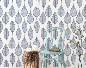 Stripy Leaf Wallpaper / Traditional or Self Adhesive Wallpaper M1001