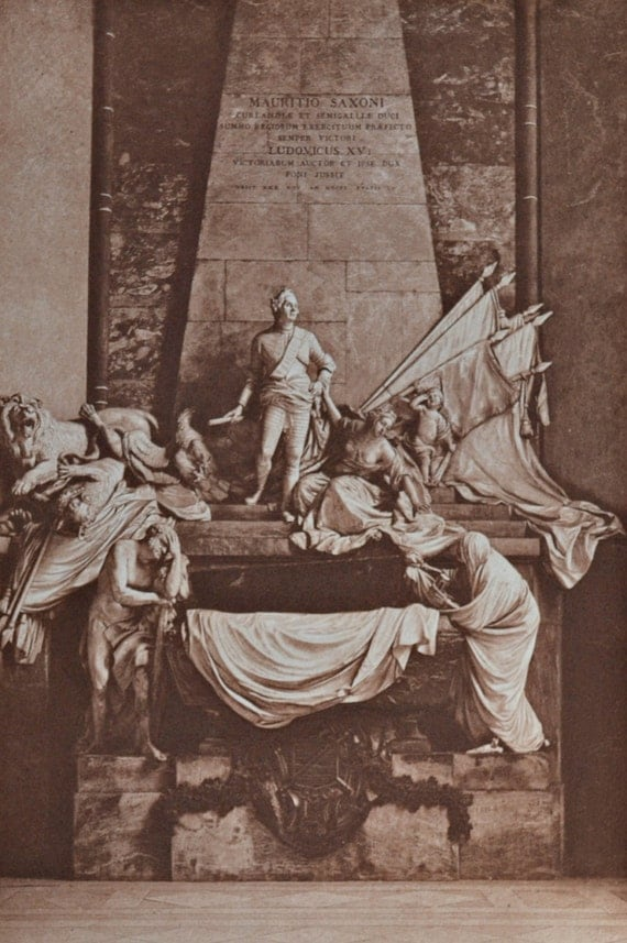 Tomb of Maurice of Saxe in Saint Thomas's church, Strasbourg, by Pigalle. Antique lithograph. 113 years old print. 11'7 x 8'2 inches.