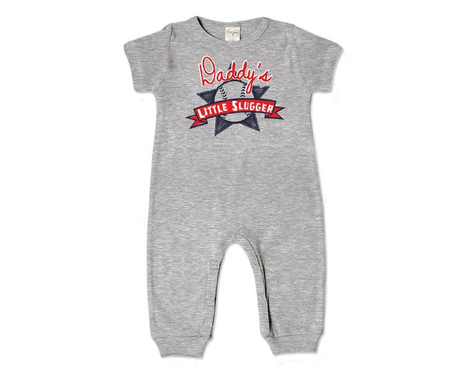 Baby Boy Outfit Romper, Baby Boy Grey Romper, Newborn Boy Outfit, Short Sleeve Baseball Romper, Father's Day Outfit, Tesababe RP860HG000431