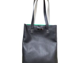 Large leather tote bag in gray. Large tote bag. Gray leather bag for women. Daily leather bag . Grey Shopping bag in leather. Leather purse
