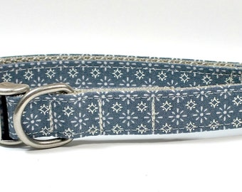 Vintage Patriotic Stars Dog Collar with antique nickel hardware