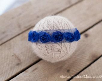 Navy Blue Flowers Newborn Headband, Newborn Headband, Photo Prop, Accessory, Flower Headband, Blue Newborn Headband, Polka Dot Headband