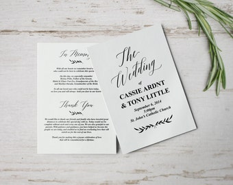 Rustic Wedding Programs, Wedding Program Template, Wedding Program Instant Download, Unique Wedding Programs, Folded Wedding Program
