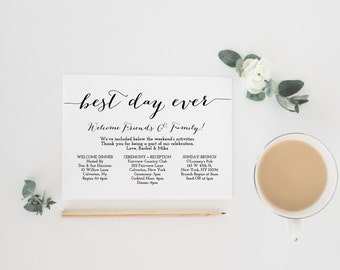 Wedding timeline printable wedding itinerary template green printable wedding itinerary template wedding weekend itinerary wedding timeline destination wedding itinerary pronofoot35fo Image collections