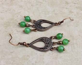 Jade Earrings, Green Earrings, Gemstone Earrings, Copper Earrings, Copper Dangle Earrings, Green Dangle Earrings, Gifts for Her, Jewelry