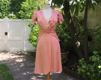 1970's Hand made pretty pink vintage wrap around dress in a 40's style.