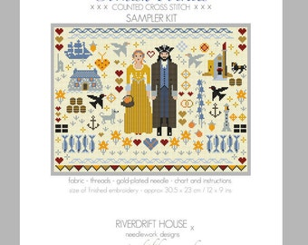 CROSS STITCH KIT (Linen Version) Cornish Folkies Sampler by Riverdrift House