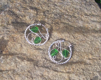 Celtic Hoop Earrings - Forest Elune - Green Leaf Jewelry - Druid Nature Leaf Celtic Jewelry