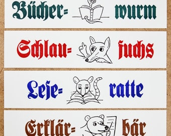 Children's bookmarks: smart fox, bookworm, reading rat; blackletter, letterpress, lead-type on strong paper