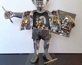 Frank Meisler 'PORTRAIT OF PICASSO' Bronze-Silver Gold Sculpture Very Rare! Limited Edition!