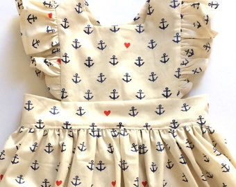 ANCHORS AWEIGH // pinafore dress // toddler girls dress