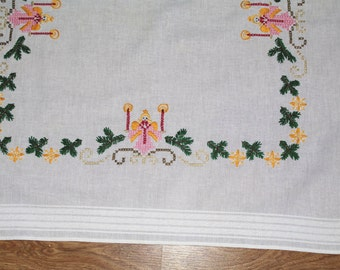 Christmas White hand embroidered square vintage traycloth Polish linen hand embroidered angels candels Table top dresser scarf xmas decor