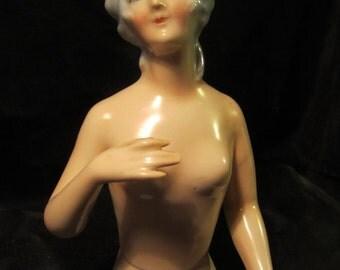 "Art deco Goebel porcelain half doll, pin cushion doll, hands off body, German lady figurine, 5,9 "" large pin cushion doll ca 1930 (D2)"