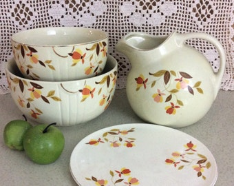 Vintage Nesting Mixing Bowls and Ball Pitcher with Cake Plate by Hall Ceramics Set of 4 Pottery Pieces Jewel Tea Marked Retro Kitchen