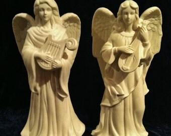 Vintage Large Ceramic Angel Candlestick Set
