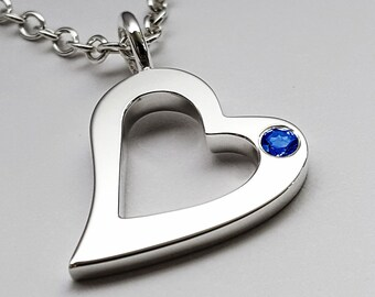 Blue Sapphire Open Heart Necklace Pendant In Sterling Silver - Blue Sapphire Necklace, Blue Sapphire Heart Pendant, Silver Heart Necklace