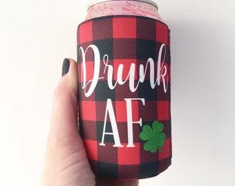 Drunk AF Buffalo Plaid Shamrock St. Patricks Day Beverage Insulator/Hugger