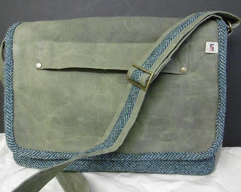 Harris tweed and waxed canvas messenger bag