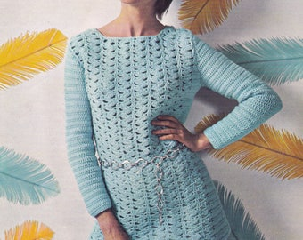 Vintage crochet pattern tunic top sweater pdf INSTANT download pattern only pdf 1970's