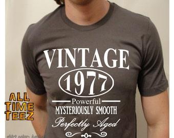 40th Birthday gift for men. Vintage 1977. 40th Birthday. CUSTOM YEAR. Funny Birthday Shirt. Birthday Gift. aged 40 years. Ships from USA