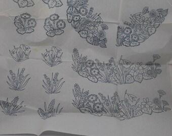 Spring Flowers Motifs - Vintage Iron-on Transfer - Woman No W209