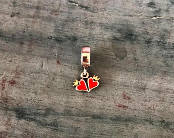 King Queen of Hearts Sliding Pendant Charm 2.3g