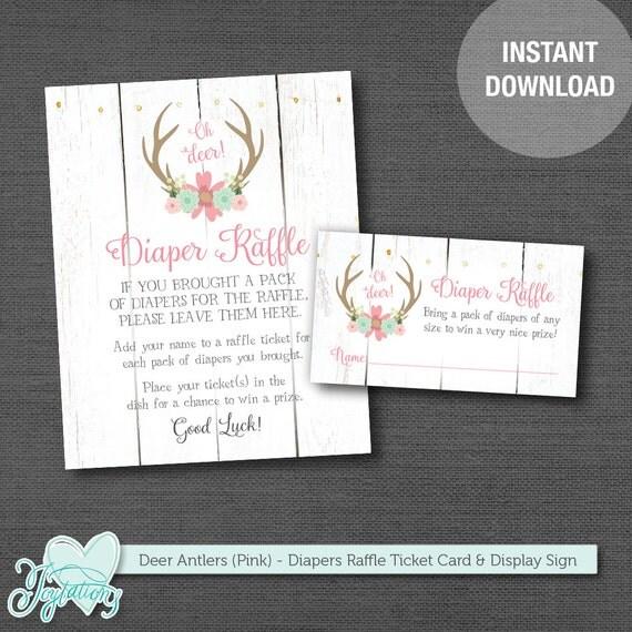 Deer Antlers Diaper Raffle Ticket Insert Card And Sign
