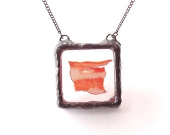 Real bacon meat necklace. Fresh Croatian salami. Long chain necklace. Rustic square pendant with real meat bacon inside. Handmade, salami.