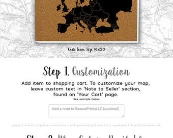 Cork Push Pin Travel Map - EUROPE - Ready To Ship - Europe Travel Gift