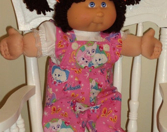 "Cabbage Patch Doll Clothes HAND MADE ruffled overall set for 16-18"" dolls"