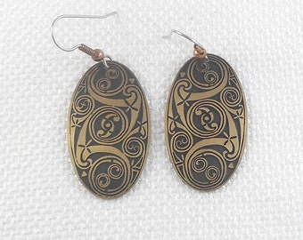 Vintage Celtic Spiral Earrings Ancient Book of Kells and Durow Celtic Earrings Black and Gold Celtic Spiral Earrings Drop Celtic Earrings