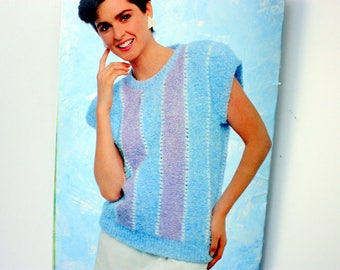 Patons  618 / Cotton Cooler / summer sweaters for women / sleeveless weather, short sleeve sweater